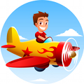 boy flying airplane